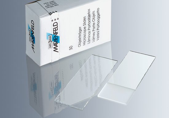 Microscope slides with 90°ground edges - Frosted
