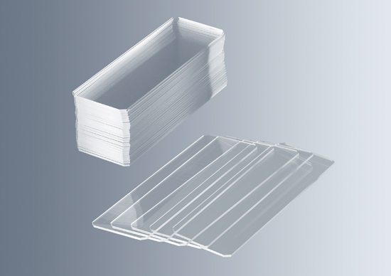Microscope slides with corners chamfered 45°